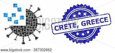 Vector Mosaic Synthetic Virus, And Crete, Greece Unclean Rosette Seal. Blue Seal Includes Crete, Gre