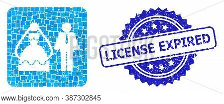 Vector Mosaic Marriage Persons, And License Expired Dirty Rosette Seal Imitation. Blue Stamp Seal Co