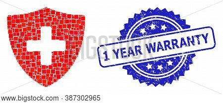 Vector Collage Medical Shield, And 1 Year Warranty Scratched Rosette Stamp Seal. Blue Stamp Seal Con