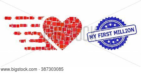 Vector Collage Love Heart, And My First Million Rubber Rosette Stamp Seal. Blue Stamp Seal Includes