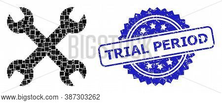 Vector Collage Wrenches, And Trial Period Grunge Rosette Seal. Blue Stamp Seal Has Trial Period Titl
