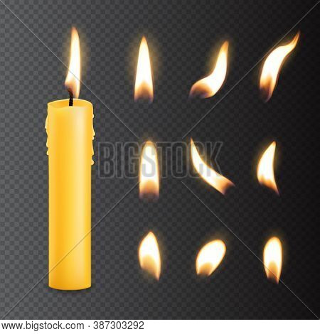 Candle With Fire Flame Lights Realistic Isolated Vector Set. Burning Church Or Party Candle Of Yello