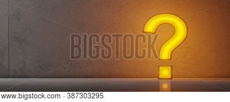 Glowing Yellow Lamp Or Lightbulb Question Mark Symbol Leaning Against Concrete Wall On Concrete Floo