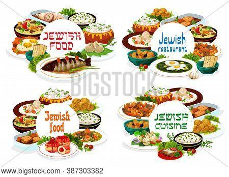 Jewish Cuisine Restaurant Meals Round Vector Banners. Gefilte Fish, Sorrel Soup And Sufganiyot Donut