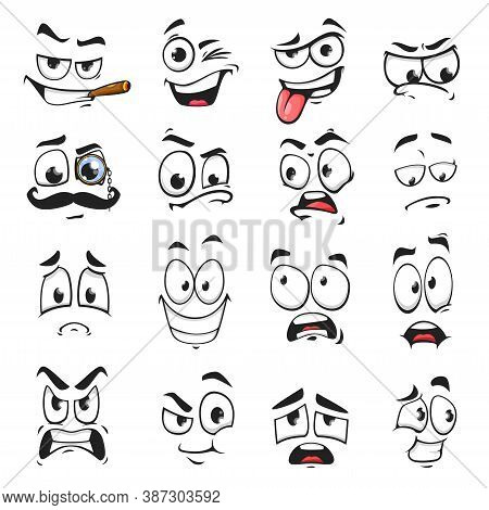 Face Expression Isolated Vector Icons, Funny Cartoon Emoji Smoking Cigar, Wink And Sad, Smiling, Sca