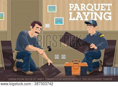 Parquet Or Laminate Flooring Installer Service Banner. Worker Standing On Knee, Using Rubber Mallet,