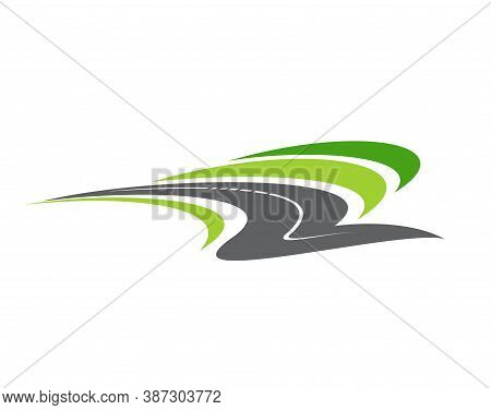 Highway Road, Pathway Isolated Vector Icon. City Highway Curve Road Disappearing Into The Distance,