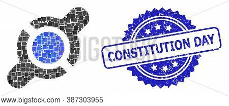 Vector Collage Joint Connection, And Constitution Day Corroded Rosette Stamp Seal. Blue Stamp Contai