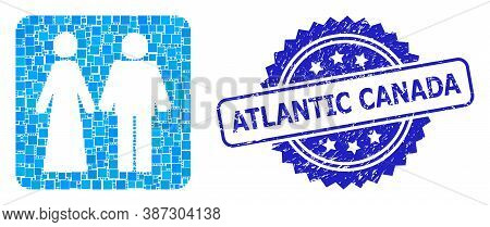 Vector Collage Married Groom And Bribe, And Atlantic Canada Unclean Rosette Stamp Seal. Blue Stamp H