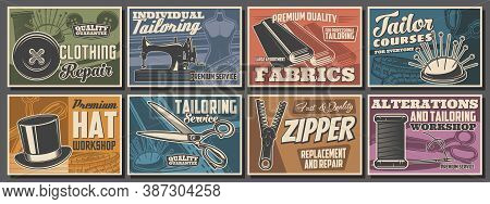 Sewing And Tailor Shop Posters, Atelier Tailoring Fashion And Textile Craft, Vector Dressmaking Salo