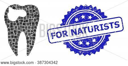 Vector Mosaic Tooth Caries, And For Naturists Dirty Rosette Seal Print. Blue Stamp Seal Has For Natu