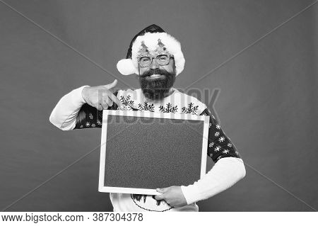 For Holiday Advertising. Happy Hipster Point Finger At Advertising Board. Bearded Man Advertising Pr