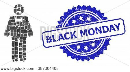 Vector Collage Sad Man, And Black Monday Dirty Rosette Seal Print. Blue Seal Includes Black Monday C