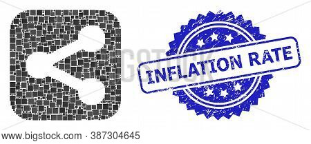 Vector Mosaic Share, And Inflation Rate Rubber Rosette Seal. Blue Stamp Seal Includes Inflation Rate