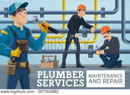 Plumber Service Maintenance And Repair Works. Plumbers Team Tightening Nuts With Wrench, Workers Ins