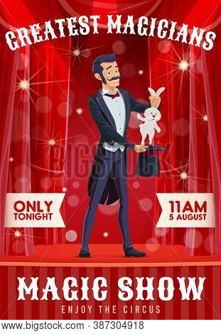 Circus Illusionist Magic Show. Magician In Tuxedo Or Tailcoat Performing On Stage, Artist Showing Ha