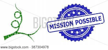 Vector Mosaic Liana Sprout, And Mission Possible Grunge Rosette Stamp Seal. Blue Stamp Seal Contains