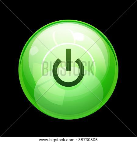 Glossy Power | start button. Vector icon poster