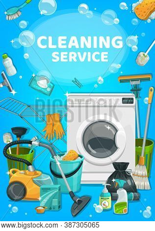 House Cleaning Service, Clean Home Laundry And Wash Detergents, Vector Household Cleaners. House Cle