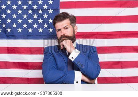 Man American Presenter Anchorman In Studio, Promoting Elections Concept.
