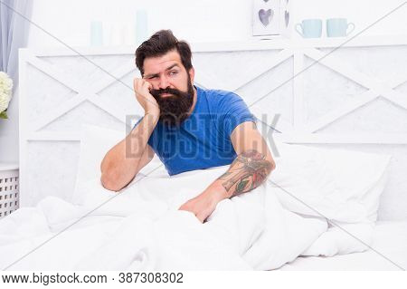 Upset Sleepy Man With Beard Has Male Health Problems In Bed, Morning Erection Problem.