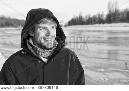 Feeling Playful. Winter Male Fashion. Warm Clothes For Cold Climate. Weather Forecast. Human And Nat
