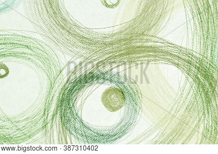 Green Scribble Elements. Watercolor Radial Template. Simple Fashion Confetti. Aquarelle Carpet Print