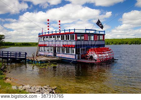Oscoda, Michigan, Usa - July 20, 2020: The Au Sable River Queen Offers Tourist Scenic Cruises Along