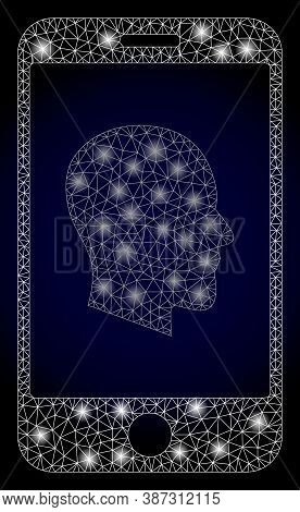 Glare Mesh Polygonal Cellphone Profile With Light Spots. Illuminated Vector Model Created From Cellp