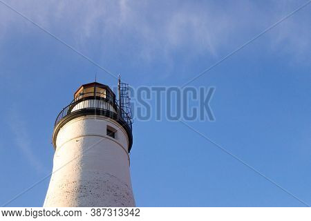 Lighthouse Background With Copy Space. The Fort Gratiot Lighthouse On Lake Huron Is One Of The Oldes