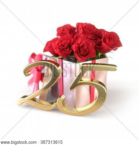Birthday Concept With Red Roses In Gift Isolated On White Background. Twenty-fifth. 25th. 3d Render