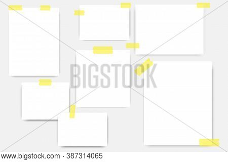 Note Paper. Blank Sheets Glued With Tape. Paper On The Wall With Scotch Tape. Vector Illustration.