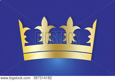 Yellow Crown On A Blue Background. The Badge Of The Aristocracy. Headdress Of A King Or Queen. Luxur