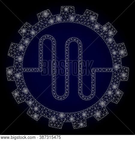 Shiny Mesh Polygonal Pipe Service Cog With Light Spots. Illuminated Vector Constellation Created Fro