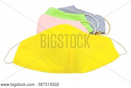 Colorful Handmade Washable Cotton Cloth Protective Mask Isolated On White Background. Anti-virus Or