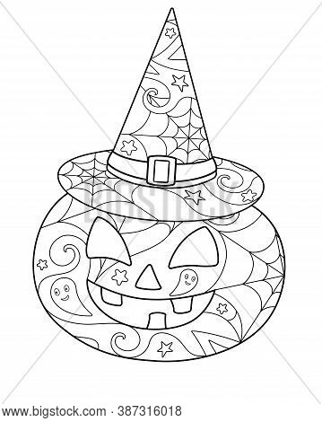 Halloween Pumpkin In A Witch's Hat - Coloring Antistress - Vector Linear Picture For Coloring. Pumpk