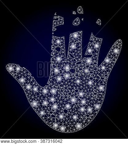 Shiny Mesh Polygonal Destructed Hand With Light Spots. Illuminated Vector Constellation Created From
