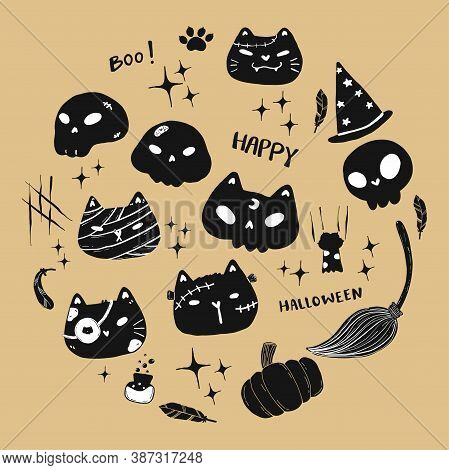 Cute Cat Skull And Face Halloween Elements Flat Vector Black Silhouette