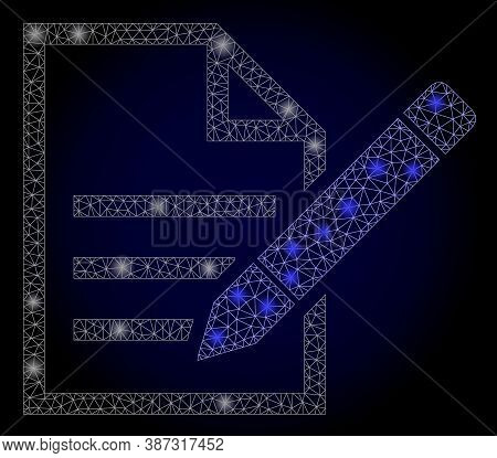 Glare Mesh Polygonal Edit Text Page With Glowing Spots. Illuminated Vector Constellation Created Fro