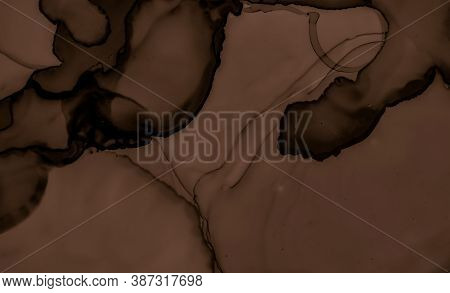 Liquid Chocolate Texture. Brown Coffee Background. Color Dessert Pattern. Watercolour Choco Stains.