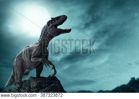 Dinosaur, Tyrannosaurus Rex In The Jungle At Night