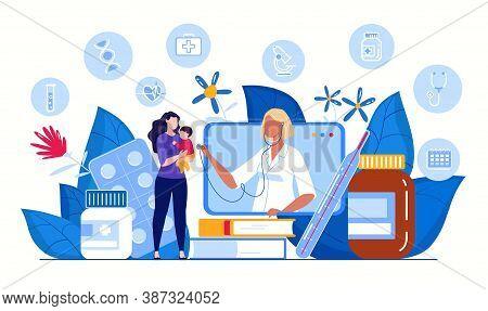Online Doctor Consultation Concept. Ask A Doctor. Family Doctor Online. Medical Diagnostics Via The