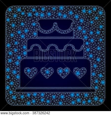 Glowing Mesh Web Marriage Cake With Lightspots. Illuminated Vector Constellation Created From Marria