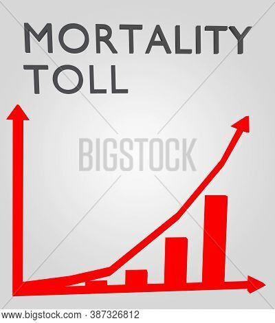 3d Illustration Of Mortality Toll Above A Column Bar Graph, Isolated Over Gray Gradient.