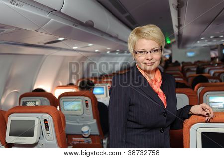 Posing stewardess near armchairs in the plane poster