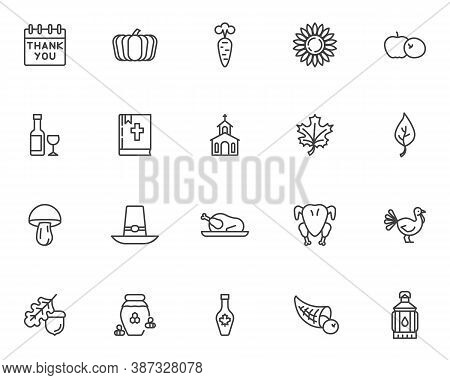 Thanksgiving Day Line Icons Set. Linear Style Symbols Collection, Outline Signs Pack. Vector Graphic