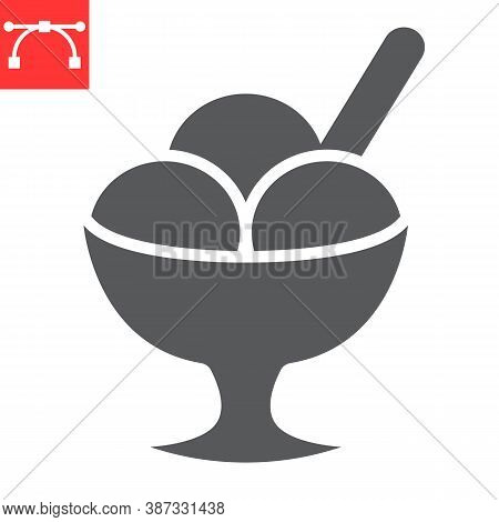 Ice Cream In Bowl Glyph Icon, Dessert And Cold, Sorbet Sign Vector Graphics, Editable Stroke Solid I