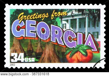 United States Of America - Circa 2002: A Postage Stamp Printed In Usa Showing An Image Of The Georgi