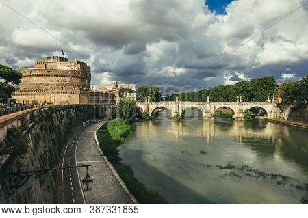 Rome, Italy. June 10, 2020: The Mausoleum Of Hadrian, Usually Known As Castel Sant Angelo (english: