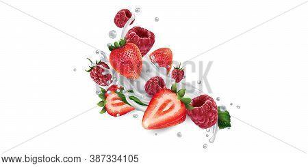Strawberries And Raspberries In Splashes Of Yogurt Or Milk.